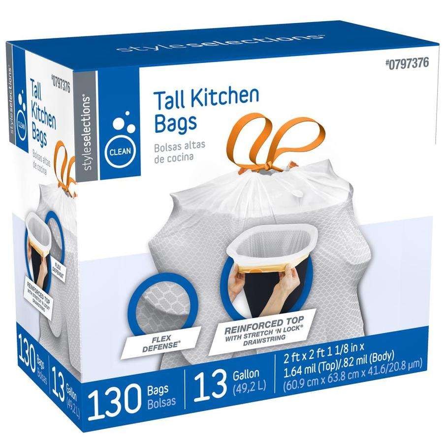 Style Selections 130-Count 13-Gallon Scent Free White Indoor Kitchen Trash Bags