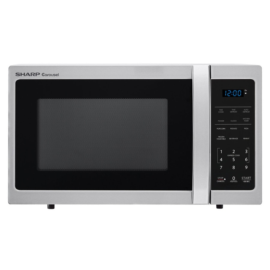 Sharp 0 9 Cu Ft 900 Watt Countertop Microwave Stainless Steel