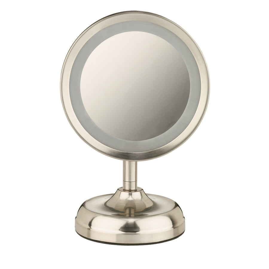 Lighted Vanity Mirror Conair : Shop Conair Nickel Chrome Magnifying Countertop Vanity Mirror with Light at Lowes.com
