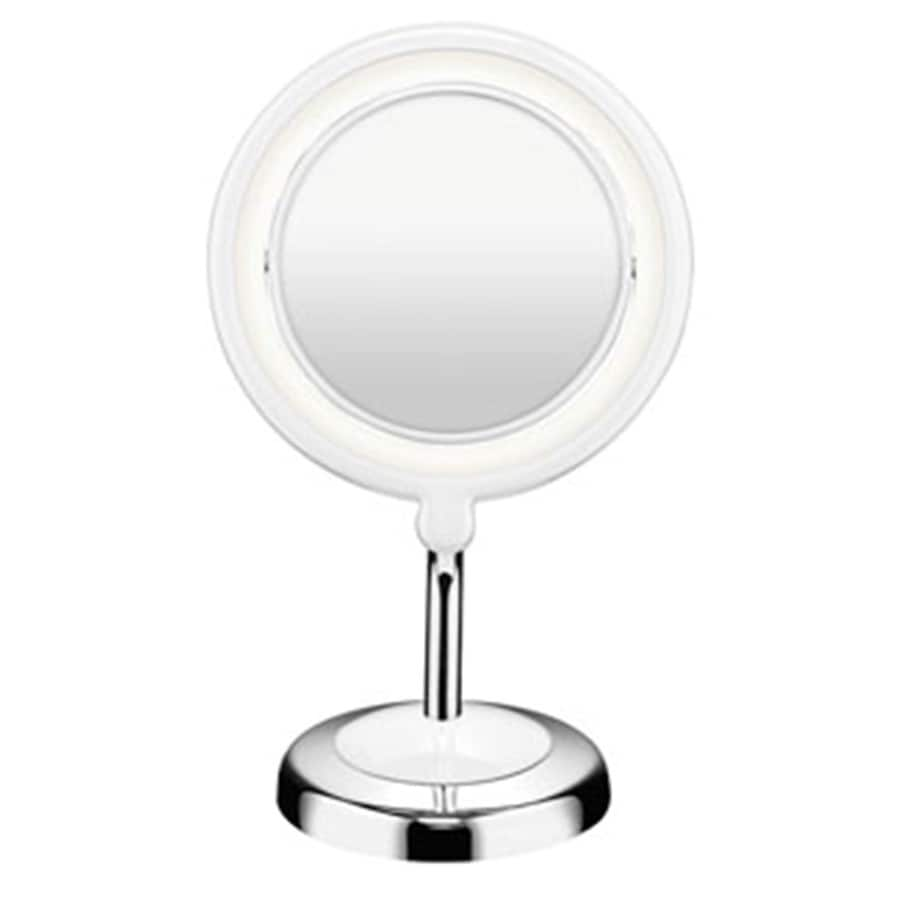 Lighted Vanity Mirror Chrome : Shop Conair Chrome Magnifying Countertop Vanity Mirror with Light at Lowes.com