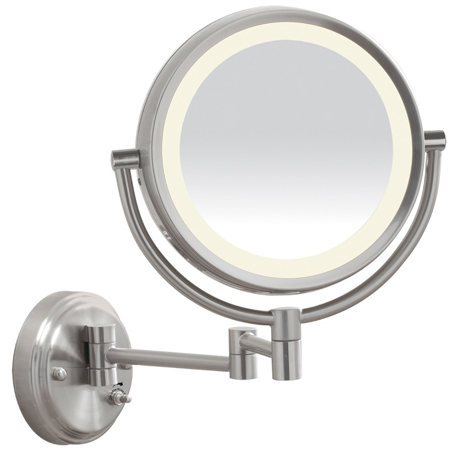 Conair 16.875-in W x 12.625-in H Brushed Nickel Round Bathroom Mirror