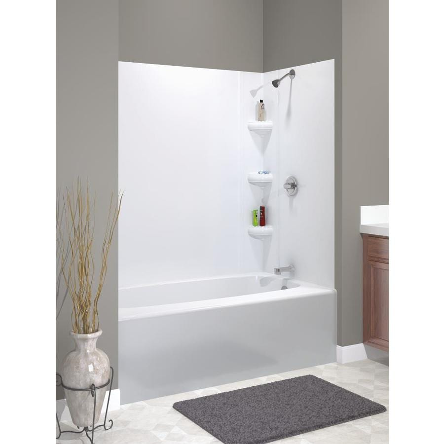 Shop Peerless Avondale High Gloss White Highimpact Polystyrene - Lowes bathroom shower surrounds
