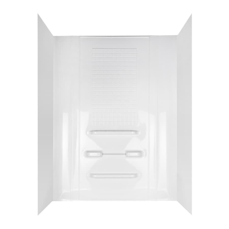 Aqua Glass Enhance 63-in W x 31-1/2-in D x 78-in H High Gloss White Polystyrene Bathtub Wall Surround