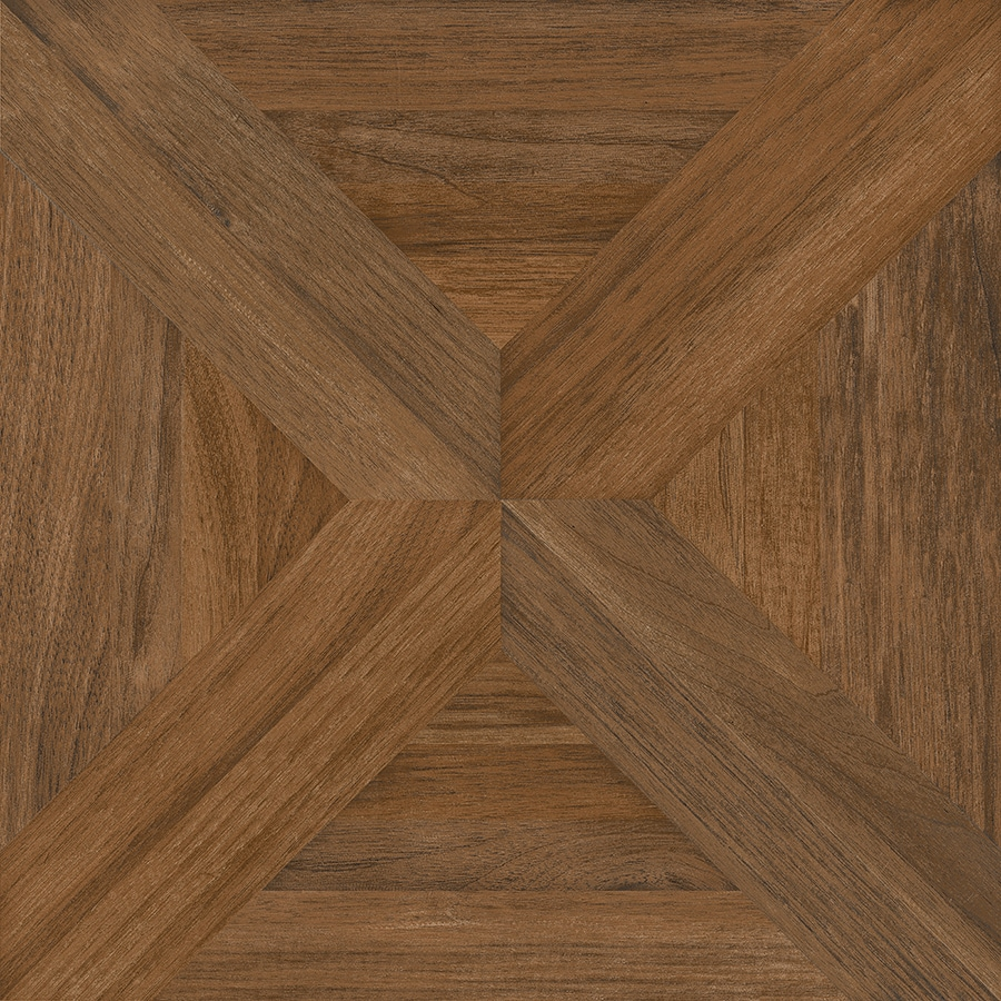 Nitrotile Villanova Brown Wood Look Ceramic Floor Tile (Common: 17 In X 17