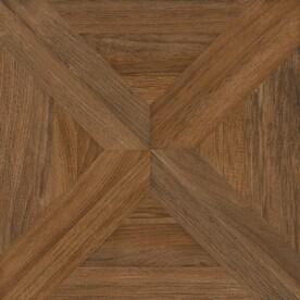 nitrotile villanova brown wood look ceramic floor tile common 17in x 17