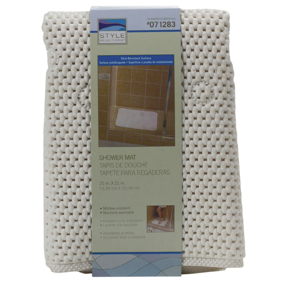 Shop Style Selections Soft Shower Mat - White at Lowes.com