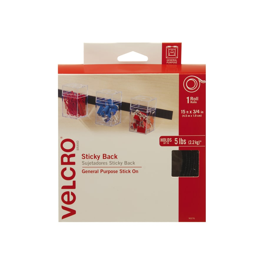 VELCRO 0.75-in x 180-in Black Rectangle Fastener