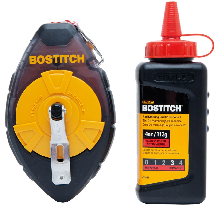 Bostitch Plastic High Visibility Chalk Reel with Red Chalk