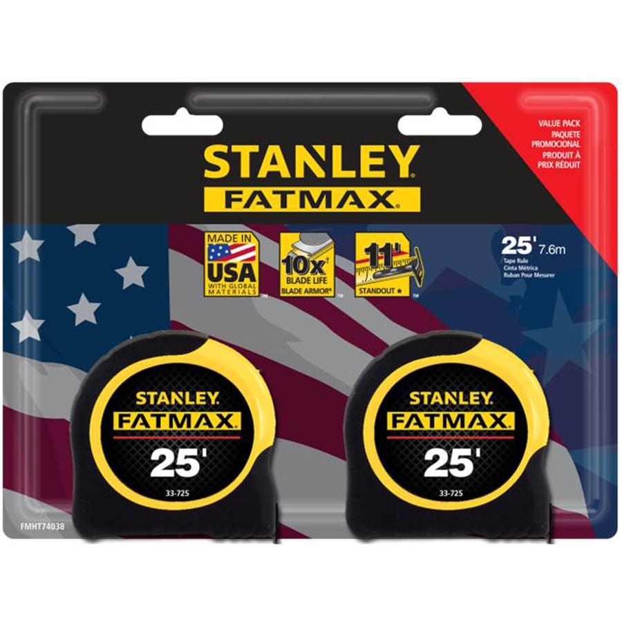 Shop measuring tools at lowes stanley fatmax 2 pack 25 ft tape measures greentooth Images