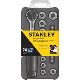 Stanley 24-Piece Metric Polished Chrome Mechanics Tool Set