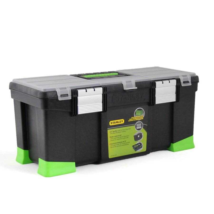 Stanley 9.9-in Black Plastic Lockable Tool Box