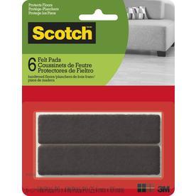 Scotch 6 Pack 1 In X 4 In Brown Rectangular Felt Pad