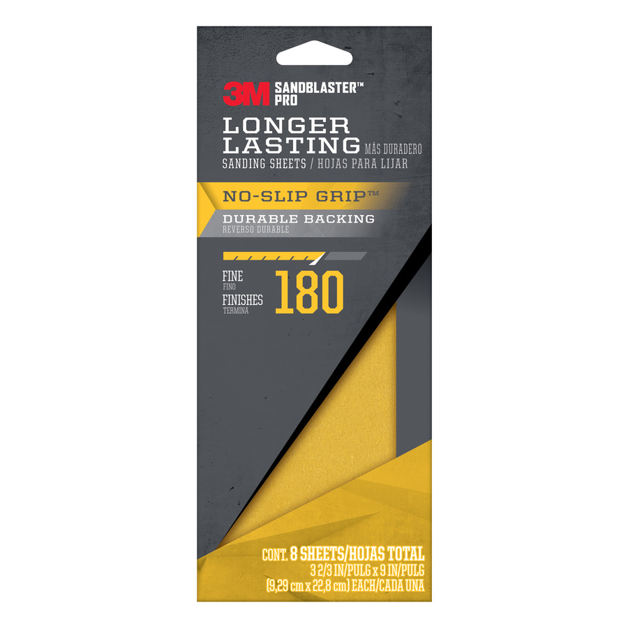3M SandBlaster Pro 8-Pack 3.66-in W x 9-in L 180-Grit Commercial Sandpaper