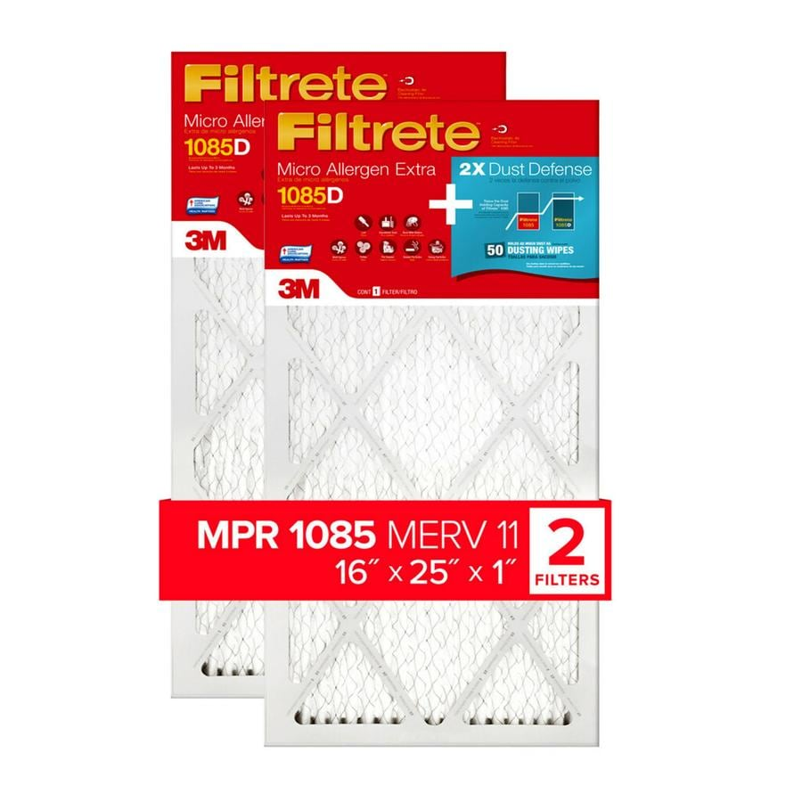 Filtrete (Common: 25-in x 16-in x 1-in; Actual: 15.75-in x 24.75-in x 0.875-in) 2-Pack Micro Allergen Extra with Dust Reduction Electrostatic Pleated Air Filters
