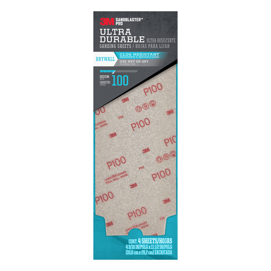 3M 4-Pack 4.1875-in W x 11.5-in L 100-Grit Commercial Ultra Flexible Drywall Sheets
