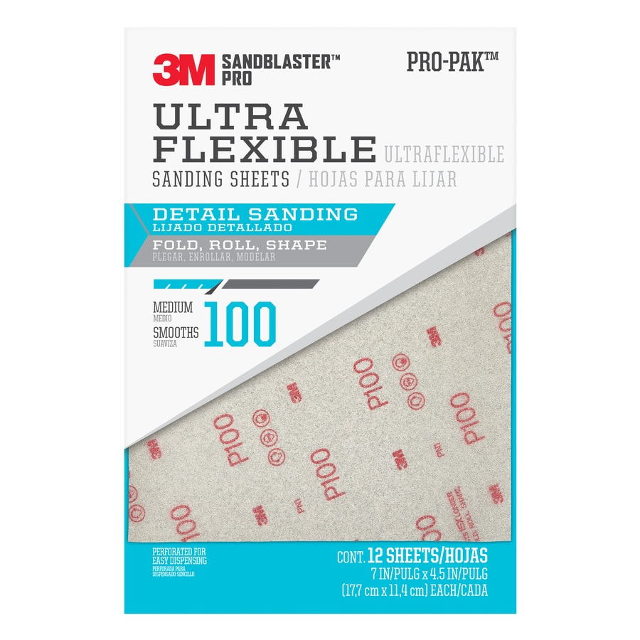 3M SandBlaster Pro 12-Pack 7-in W x 4.5-in L 100-Grit Premium Ultra Flexible Sandpaper