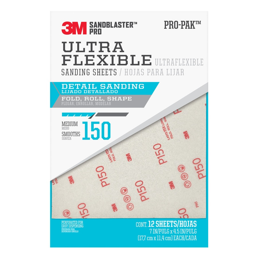 3M 12-Pack 7-in W x 4.5-in L 100-Grit Commercial Ultra Flexible Sandpaper Sheets