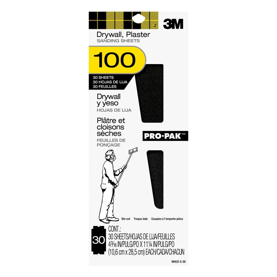3M 30-Pack 4.1875-in W x 11.25-in L 100-Grit Commercial Drywall Sanding Sheets