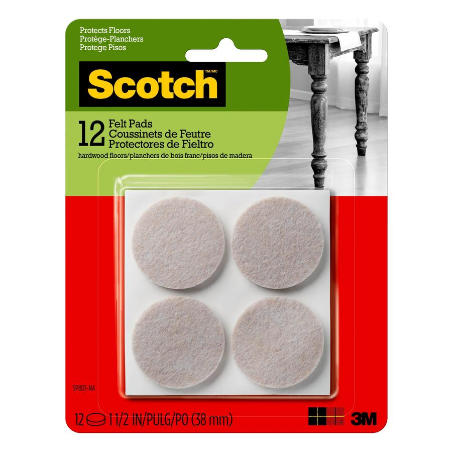Scotch 12-Pack 1.5-in Beige Round Felt Pads