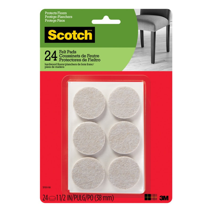Scotch 24-Pack 1.5-in Beige Round Felt Pads