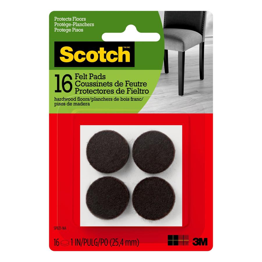 Scotch 16-Pack 1-in Brown Round Felt Pads