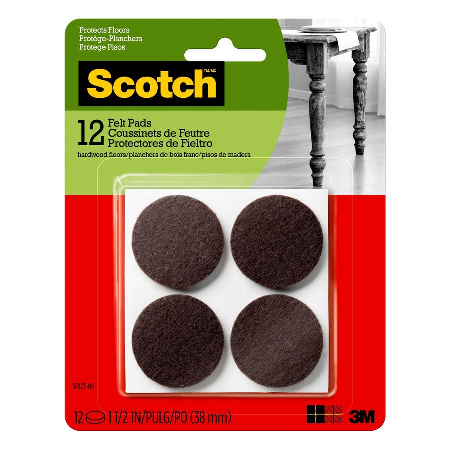 Scotch 12-Pack 1.5-in Brown Round Felt Pads