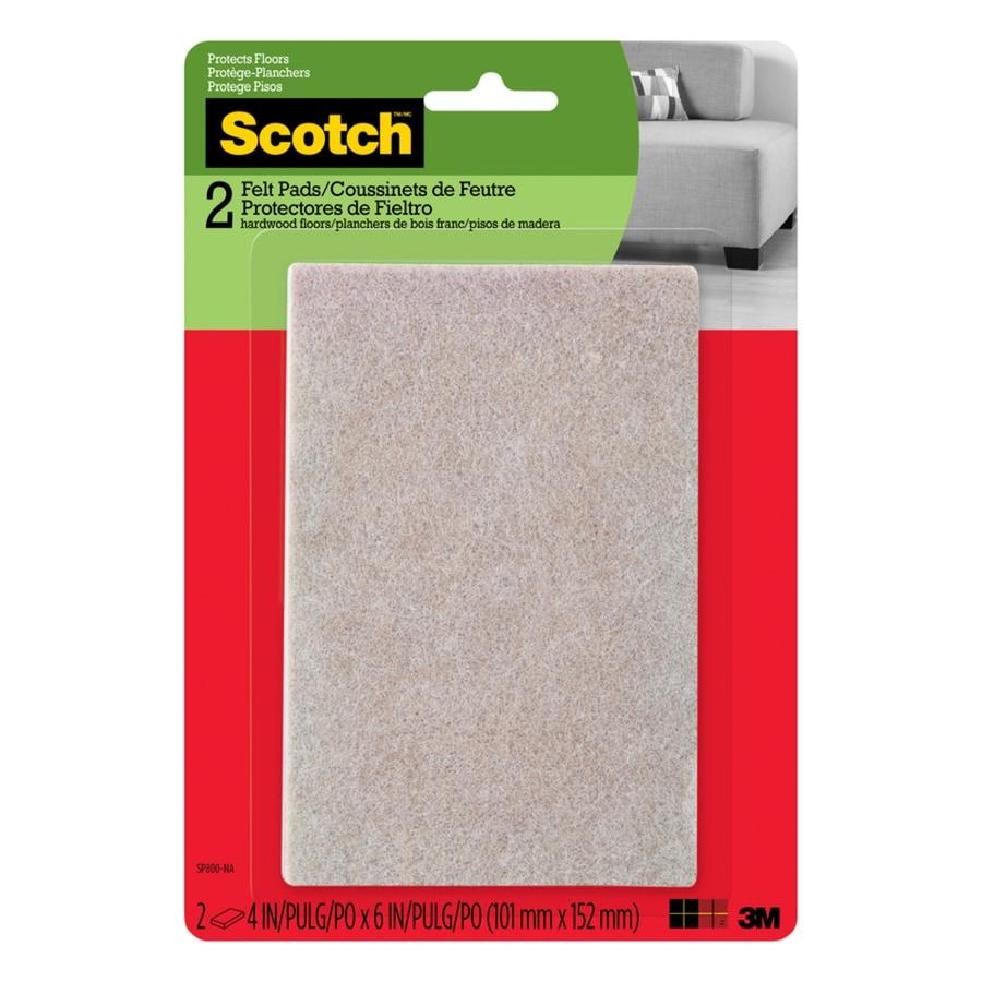 Scotch 2-Pack 6-in Beige Rectangular Felt Pads