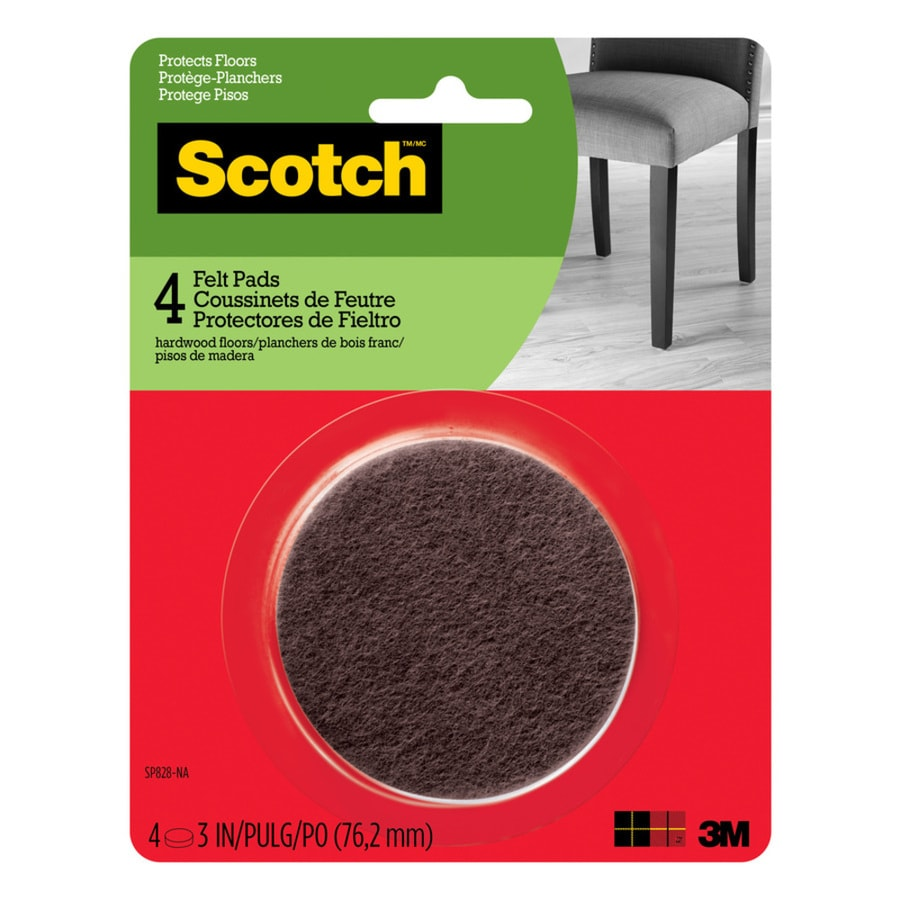Scotch 4-Pack 3-in Brown Round Felt Pads