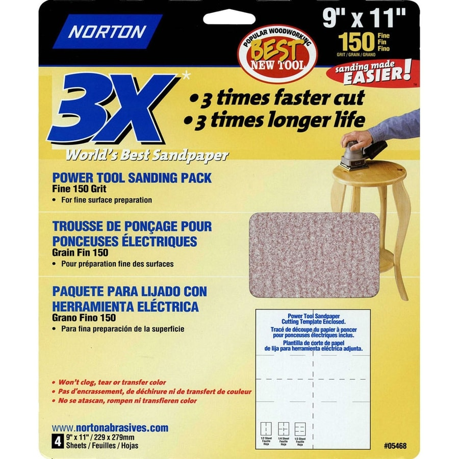 Norton 4-Pack 9.7-in W x 11.7-in L 150-Grit Commercial Sandpaper Sheets