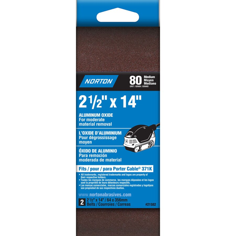 Norton 2-Pack W x L 80-Grit Commercial Belt Sandpaper