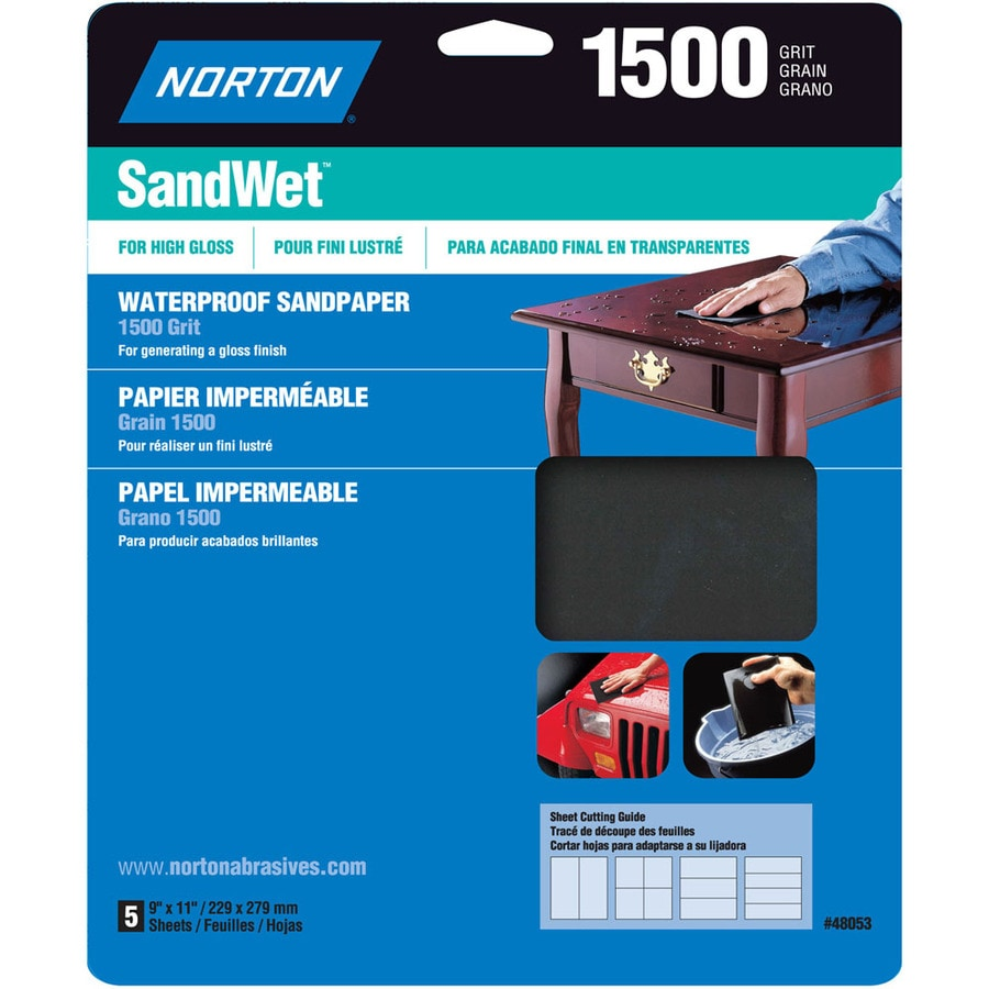 Norton 5-Pack 9.7-in W x 11.7-in L 1,500-Grit Commercial Sandpaper Sheets