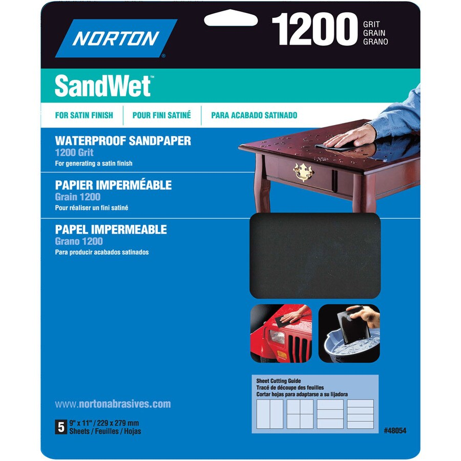 Norton 5-Pack 9.7-in W x 11.7-in L 1,200-Grit Commercial Sandpaper Sheets