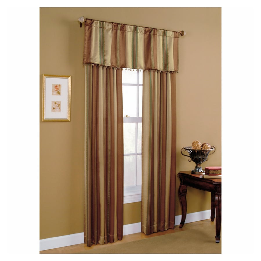 Style Selections Staccato Striped 84-in L Striped Cinnamon Rod Pocket Curtain Panel