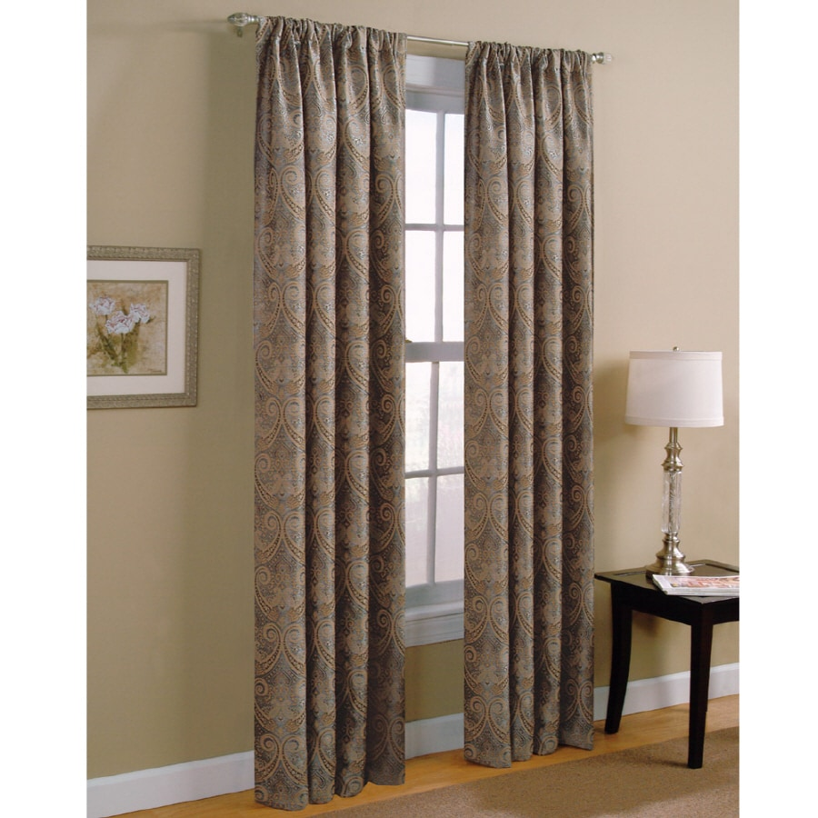 Style Selections Raja 84 In Steel Polyester Rod Pocket Light Filtering Standard Lined Single Curtain