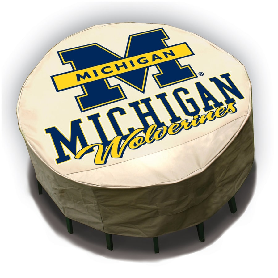 Mr. Bar-B-Q Michigan Wolverines Tan Dining Table Round Cover