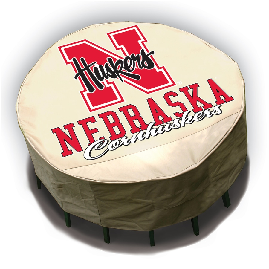 Mr. Bar-B-Q Nebraska Cornhuskers Tan Dining Table Round Cover