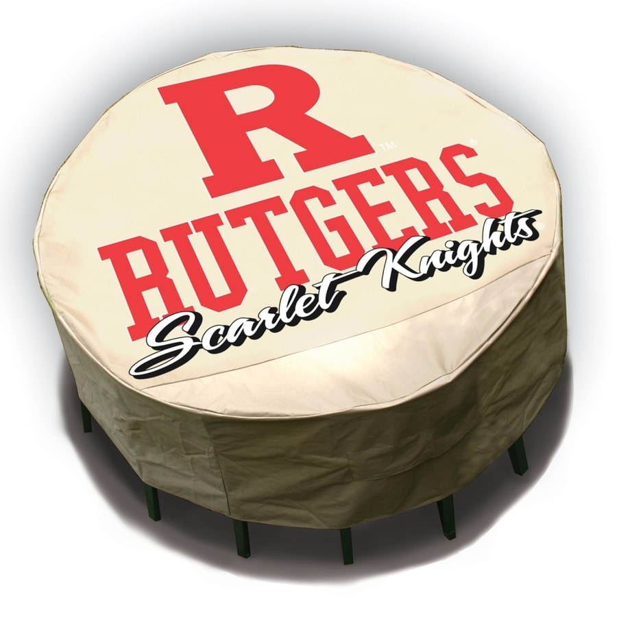 Mr. Bar-B-Q Rutgers Scarlet Knights Tan Dining Table Round Cover