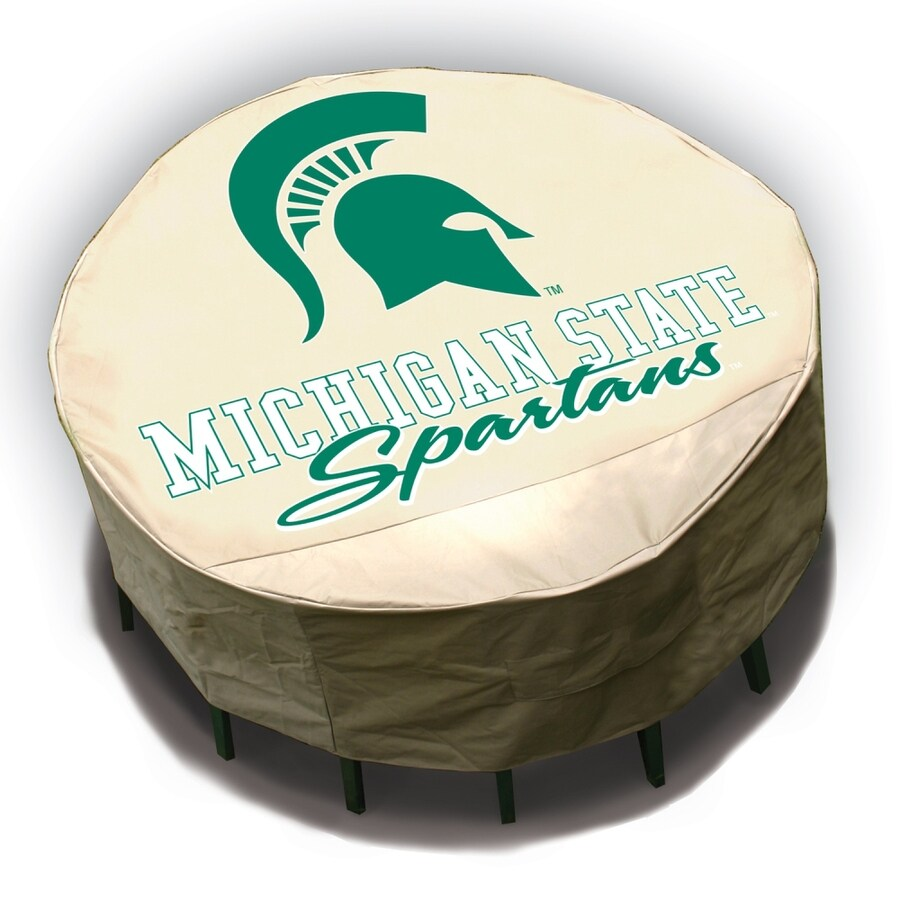 Mr. Bar-B-Q Michigan State Spartans Tan Dining Table Round Cover