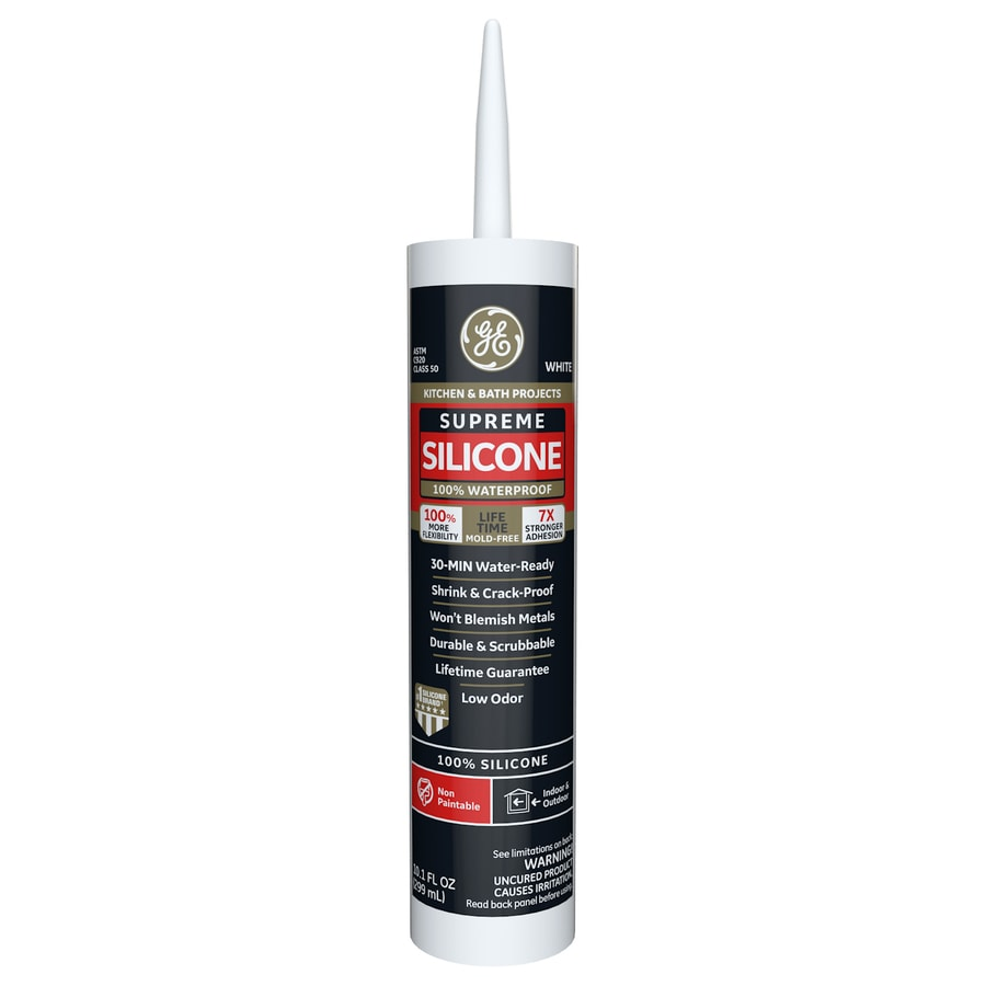 GE Supreme Silicone 10.1-oz White Unsanded Silicone Kitchen and Bathroom Caulk