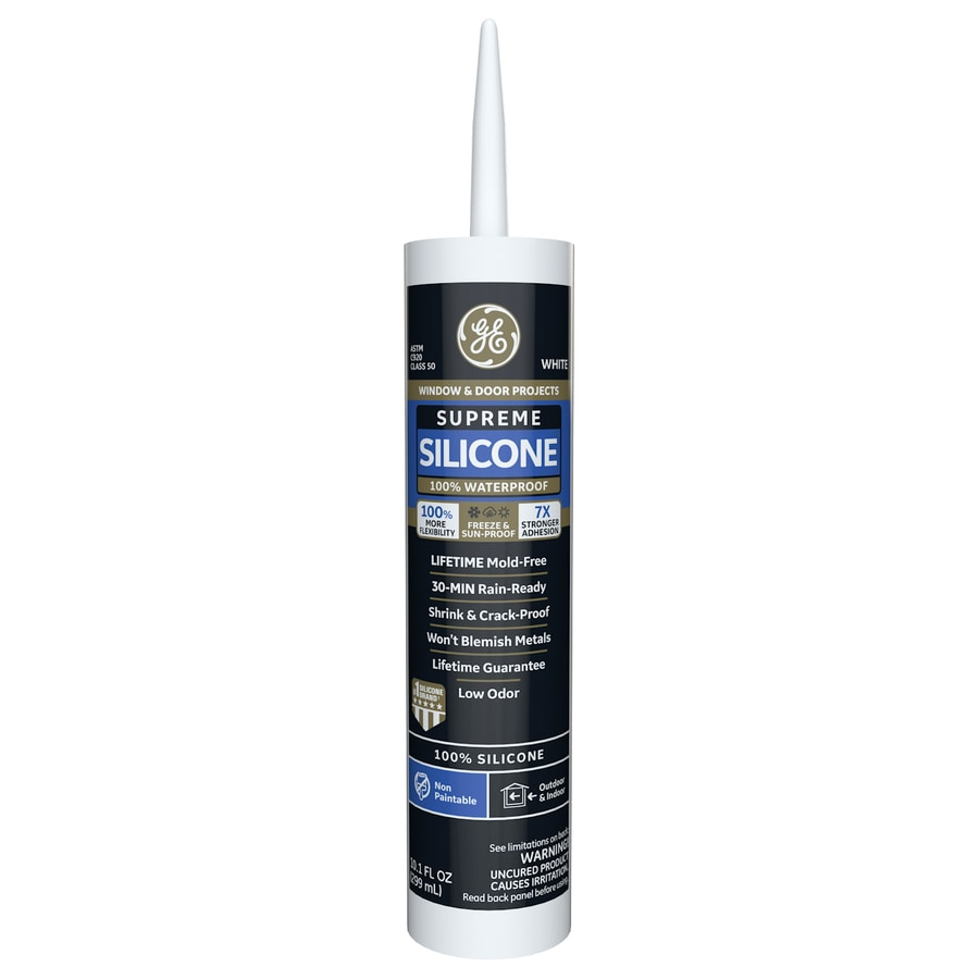 GE Supreme Silicone 10.1-oz White Silicone Window and Door Caulk