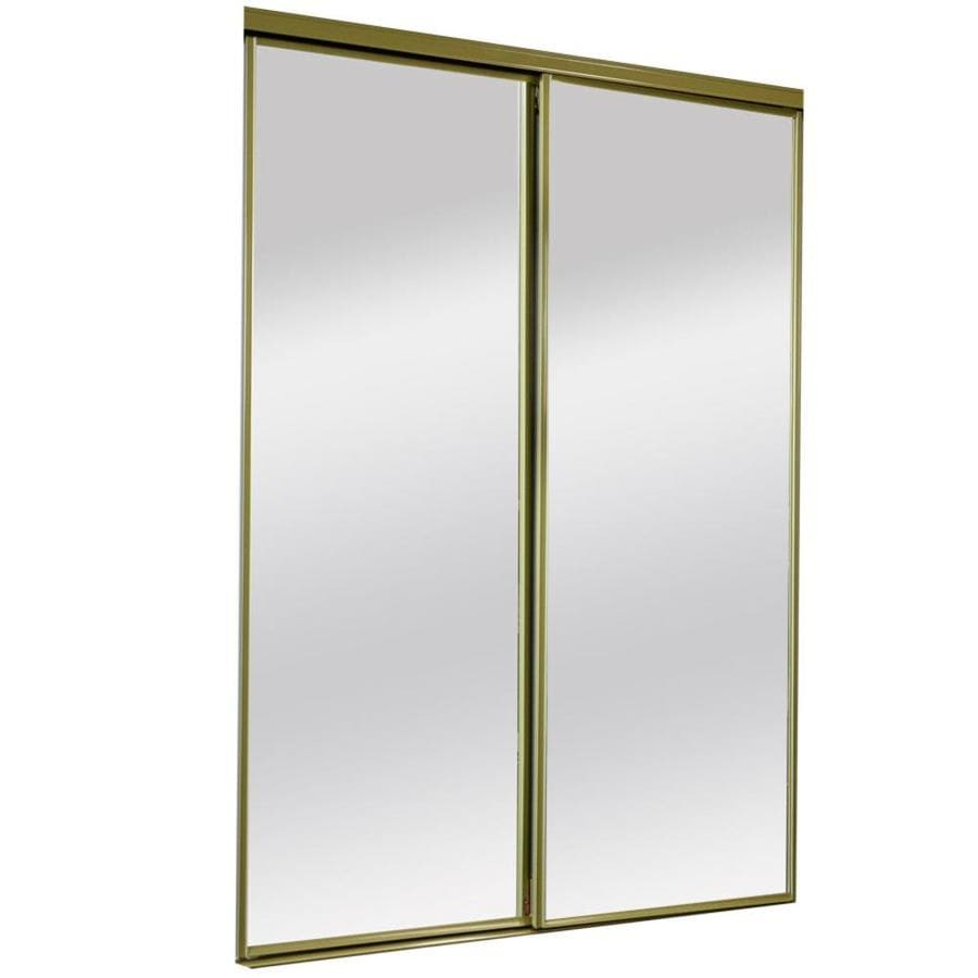 Reliabilt 9500 Series Bright Gold Mirror Panel Steel Sliding Closet Door Hardware Included Common 60 In X 80 Actual