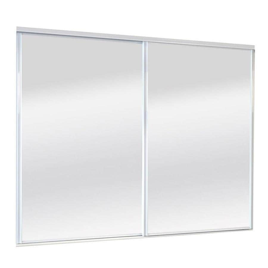 ReliaBilt Mirror/Panel Sliding Closet Interior Door (Common: 96-in x 80-in; Actual: 96-in x 80-in)