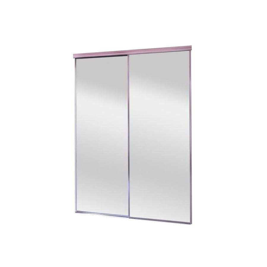 ReliaBilt 9550 Series Chrome Mirror/Panel Aluminum Sliding Closet Door With  Hardware (Common: