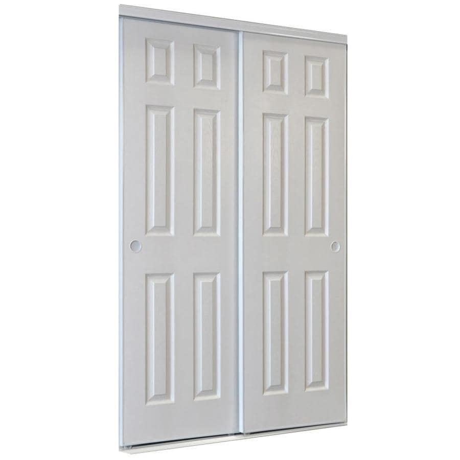 Reliabilt 9205c Series White 6 Panel Steel Sliding Closet Door With Hardware Common 72 In X 80 Actual