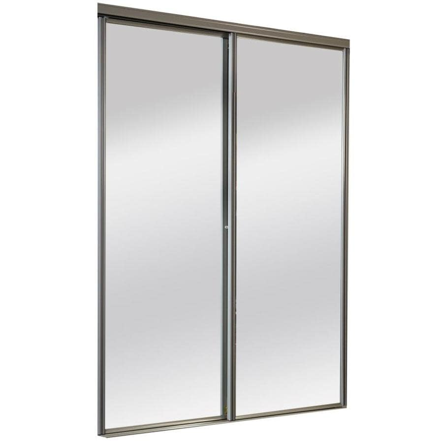 Superbe ReliaBilt 9600 Series Brushed Nickel Mirror/Panel Steel Sliding Closet Door  With Hardware (Common