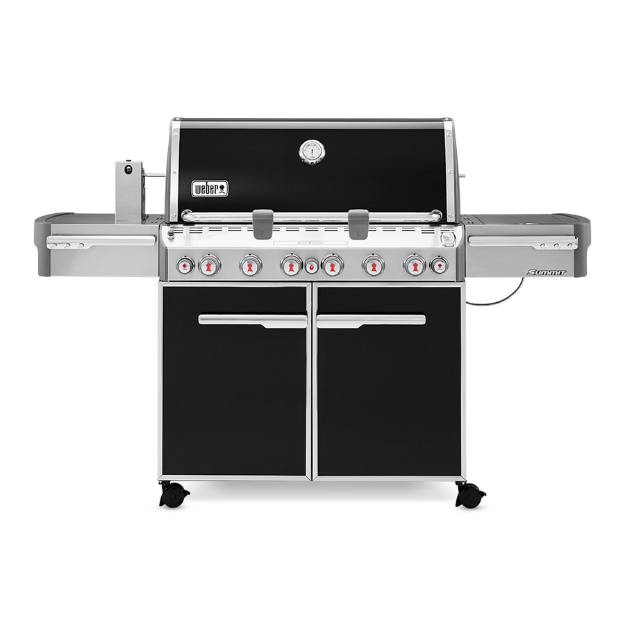 Weber Summit E-670 Black Porcelain Enamel 6-Burner (60,000-BTU) Liquid Propane Infrared Burner Gas Grill with Side and Rotisserie Burners and Integrated Smoker Box
