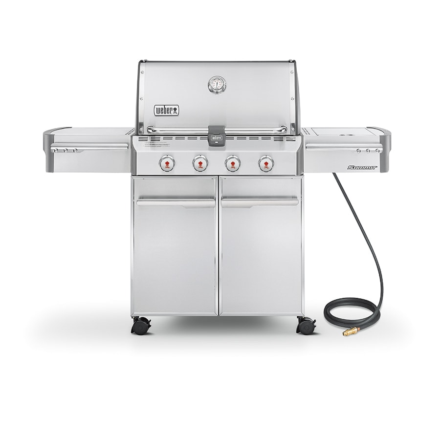 shop weber summit s 420 stainless steel 4 burner 48 800 btu natural gas grill with side burner. Black Bedroom Furniture Sets. Home Design Ideas