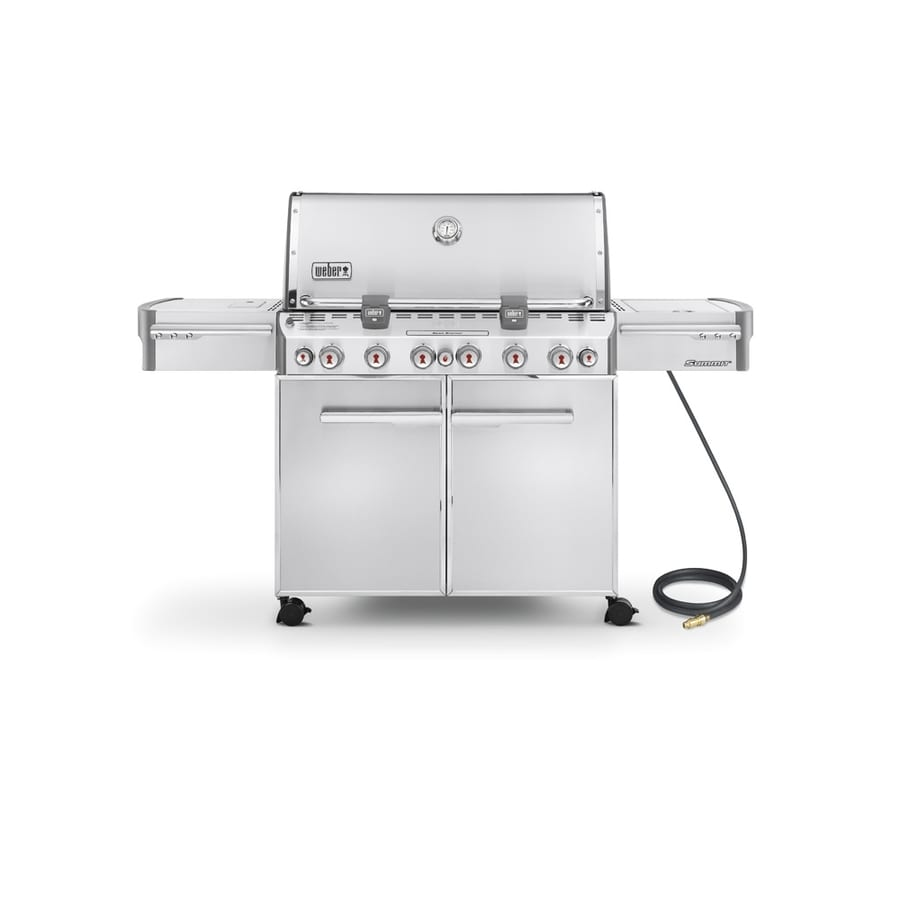 Weber Summit S-670 Stainless Steel 6-Burner Natural Gas Grill with 1-Side Burner and Rotisserie Burner Integrated Smoker Box