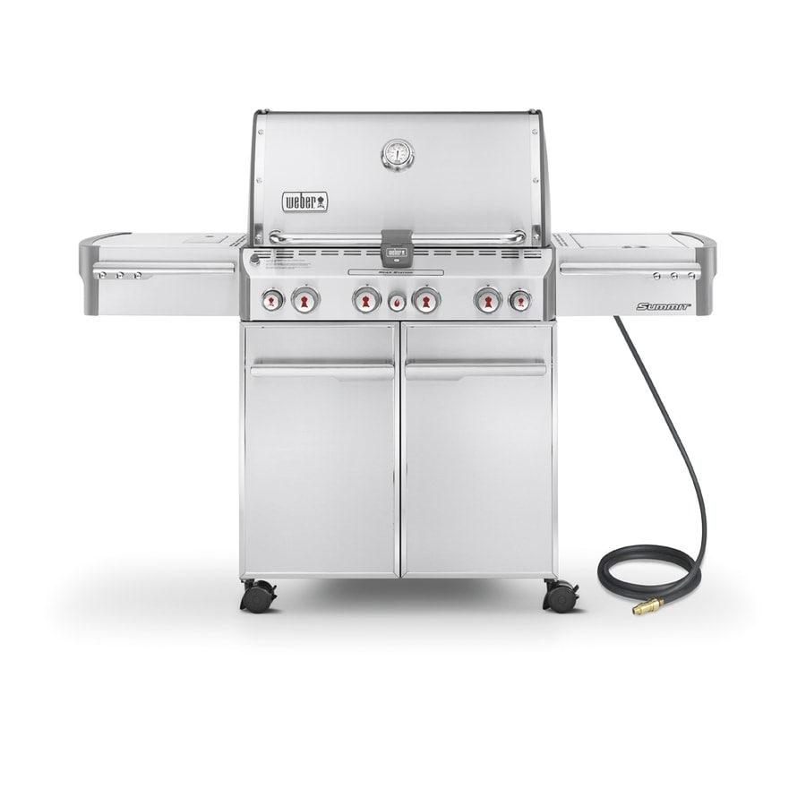 Weber Summit S-470 4-Burner Gas Grill with 1-Side Burner and Rotisserie Burner Integrated Smoker Box