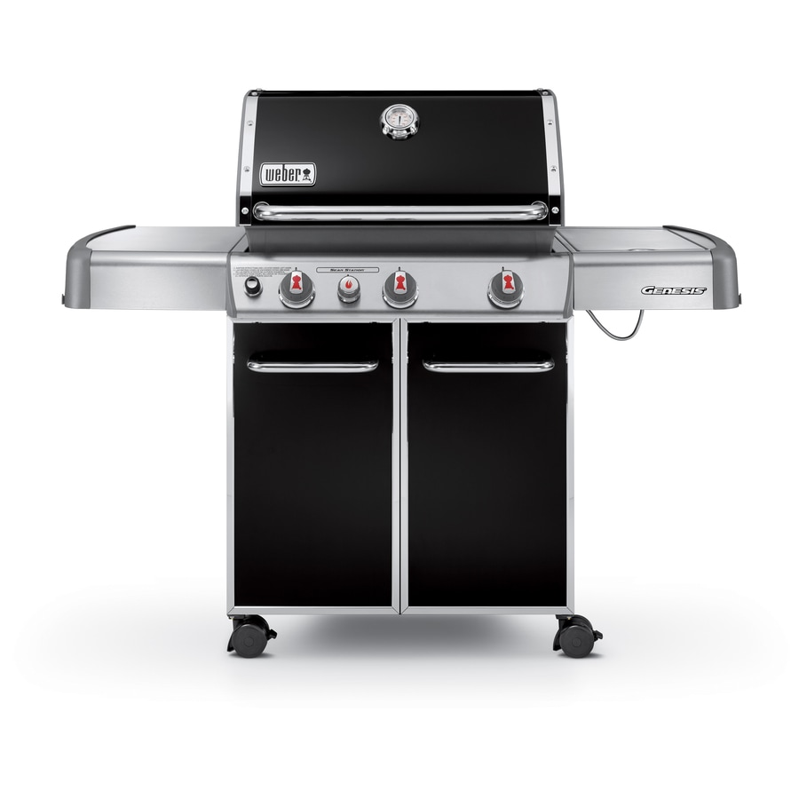 Weber Genesis E-330 Black 3-Burner (38,000-BTU) Liquid Propane Gas Grill with Side Burner